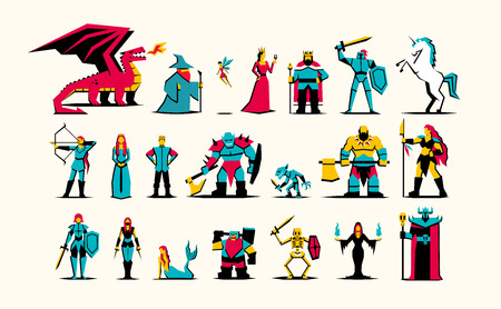 Vector Set Of RPG Medieval Fantasy Characters Isolated Çizim