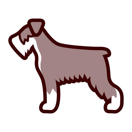 Vector Schnauzer Dog Icon Isolated On White Background