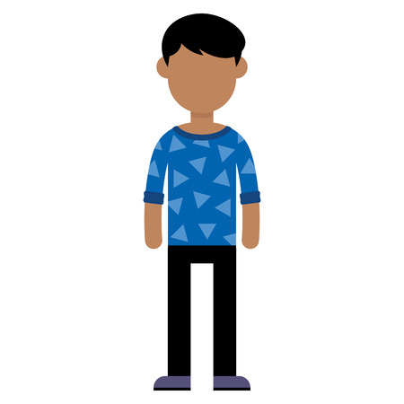 Vector Cartoon Flat Style Young Male Character Isolated
