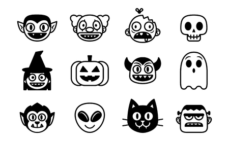 Vector Cartoon Set Of Halloween Monsters Isolated