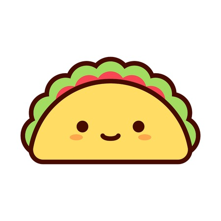 Vector Cartoon Cute Happy Taco Icon Isolated Illustration