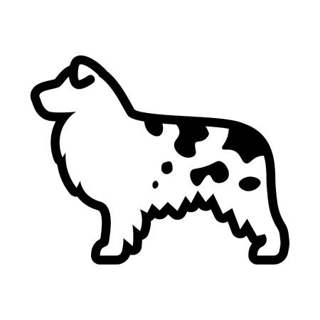 Vector Australian Shepherd Dog Icon Isolated On White Background