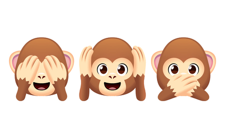 Vector Emoji Monkeys Set Isolated On White Background