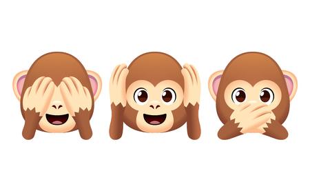Wektor zestaw małp Emoji na białym tle