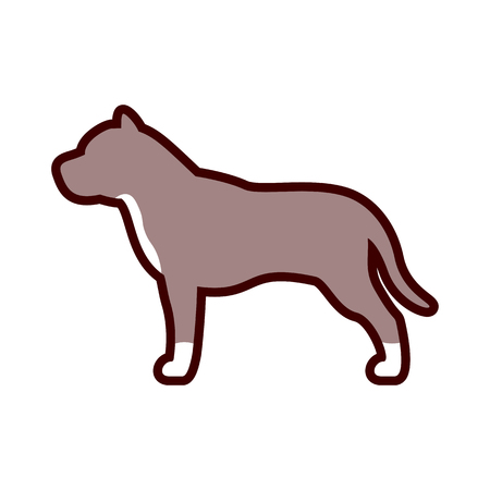 Vector Pit Bull Dog Icon Isolated On White Background