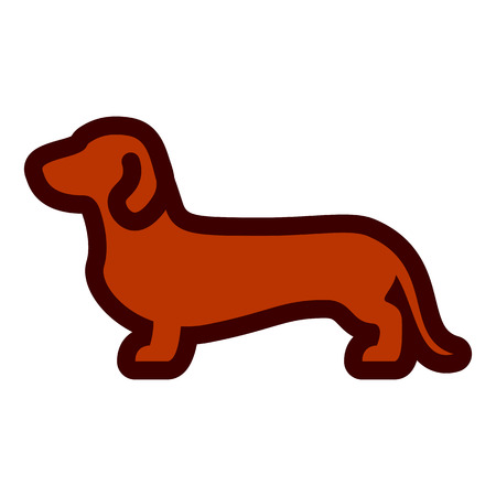 Vector Daschund Dog Icon Isolated On White Background Illustration