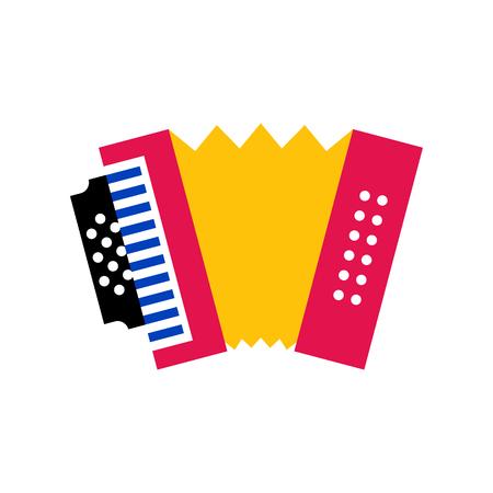 Vektor-Cartoon-Akkordeon-Symbol isoliert auf weißem Hintergrund