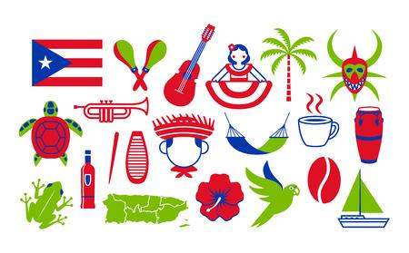 Ensemble vectoriel d'icônes de Porto Rico isolé sur fond blanc Vecteurs