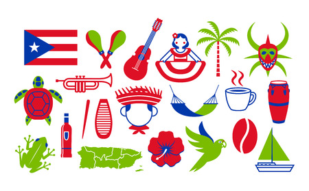 Vector Set Of Puerto Rico Icons Isolated On White Background Иллюстрация