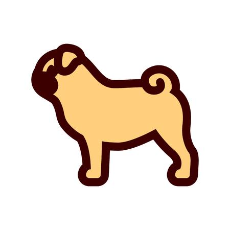 Vector Pug Dog Icon Isolated On White Background