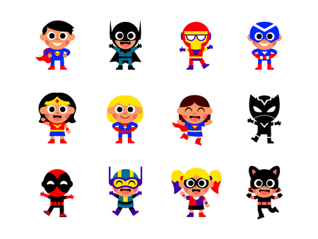 Vector Set Of Cartoon Superheroes Isolated On White Background