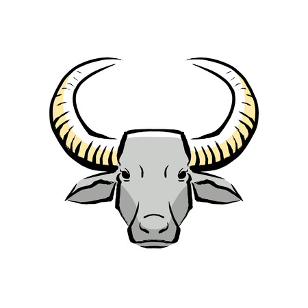 Vector Buffalo Illustration Isolated On White Background