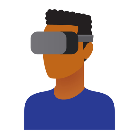 Vector Character Using Virtual Reality Device Isolated
