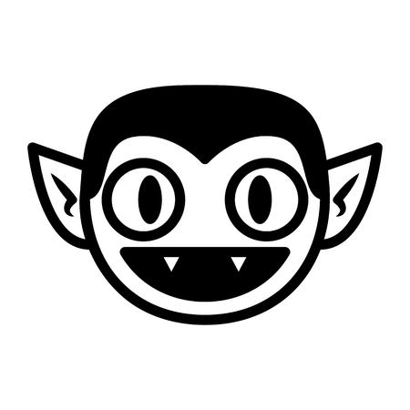 Vektor-Cartoon-Vampir-Gesicht isoliert auf weißem Hintergrund