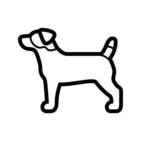 Vektor-Jack-Russel-Terrier-Hundesymbol isoliert auf weißem Hintergrund