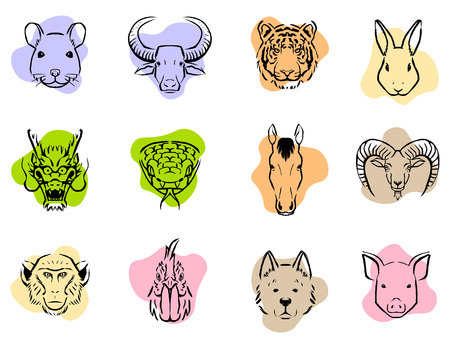 Vector Set Of Chinese Zodiac Icons Isolated On White Background