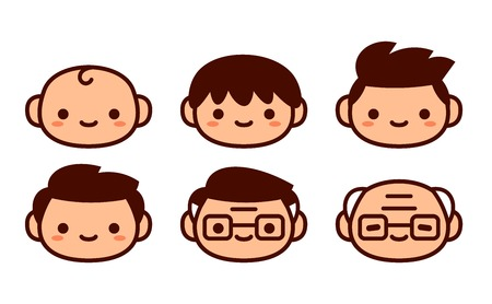 Vector Cartoon Set Of Icons Of People Of Different Ages