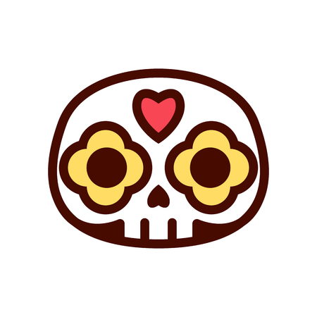 Vector Cartoon Cute Mexican Skull Icon Isolated 向量圖像