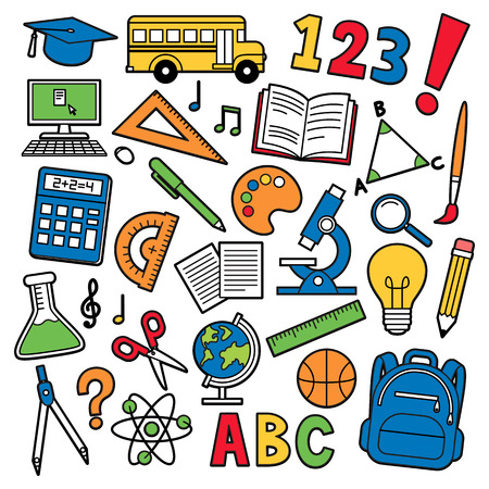 Vector Set Of School Supplies Icons Isolated 向量圖像