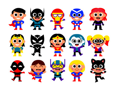 Vector Set Of Comic Characters Isolated On White Background
