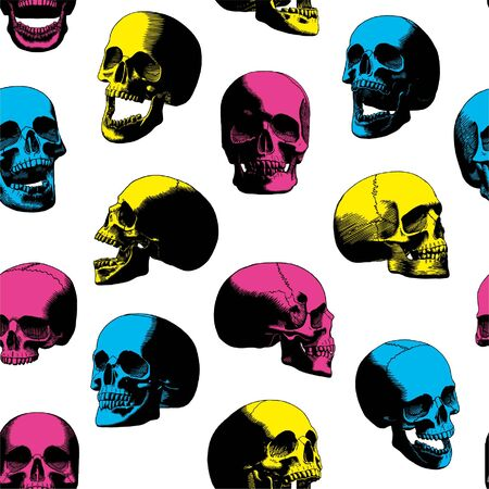 Carving Cartoon Set Colored Skulls Isolated Vettoriali