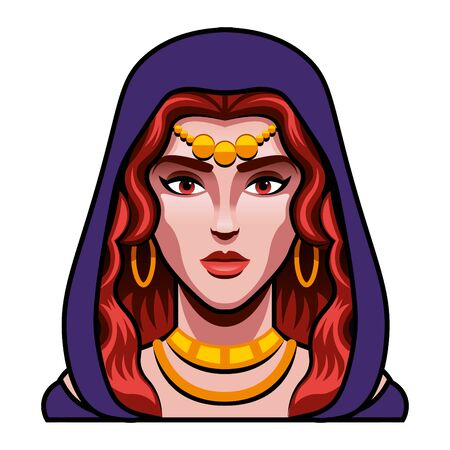 Medieval Fantasy Sorceress Character Illustration Isolated Vector Illustratie