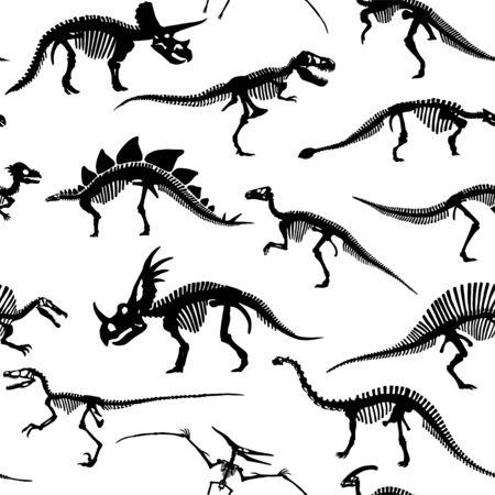 Vector Different Dinosaur Skeletons Design Seamless Pattern 向量圖像