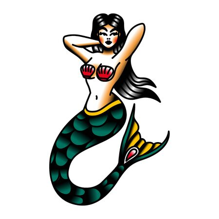Vector Old School Style Tattoo Mermaid Design Illustration