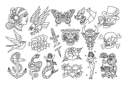 Vektor-Set von Old School Tattoo-Designs Vektorgrafik