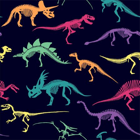 Vector Different Dinosaur Skeletons Design Seamless Pattern Illustration