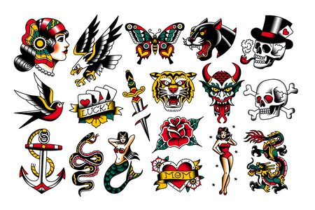 Vector Set Of Old School Tattoo Designs Illustration