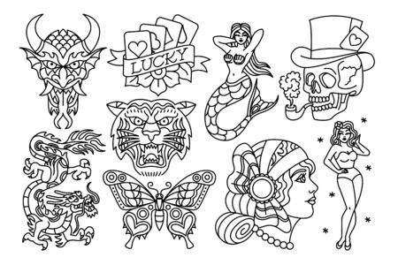 Vector Set Of Old School Tattoo Designs 矢量图像