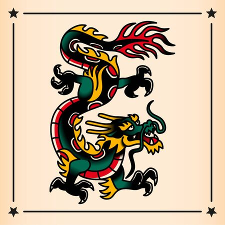 Vector Old School Style Dragon Tattoo Design