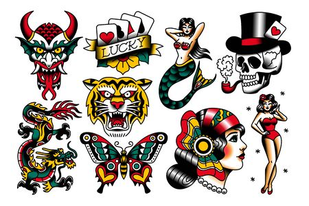 Vector Set Of Old School Tattoo Designs 일러스트