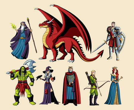 St of fictional and mythological characters - Vector