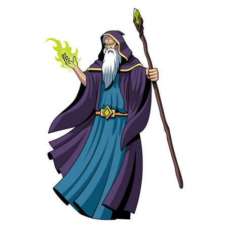 Isolated evil wizard. Fictional and mythological characters - Vector