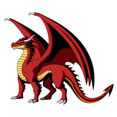 Isolated realistic dragon. Fictional and mythological characters - Vector