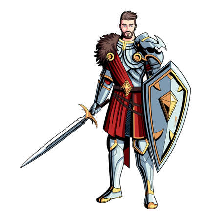 Isolated medieval warrior. Fictional and mythological characters - Vector 矢量图像