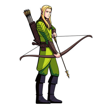 Isolated archer elf. Fictional and mythological characters - Vector