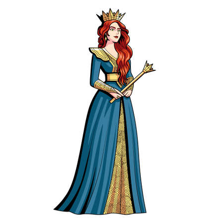 Isolated queen character. Fictional and mythological characters - Vector