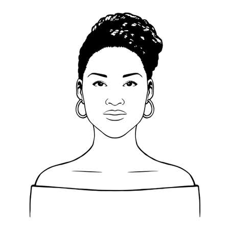Isolated beautiful afro american woman - Vector illustration