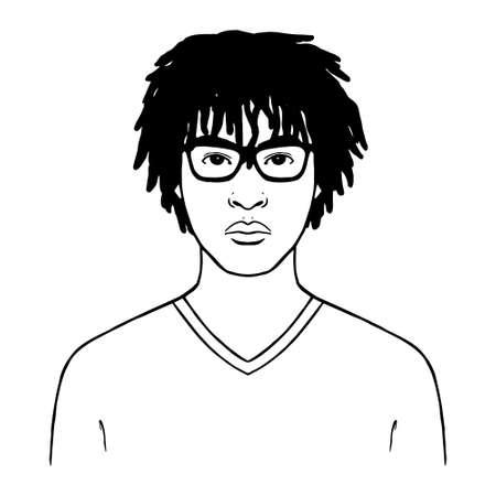 Isolated afro american man. Man portrait - Vector illustration