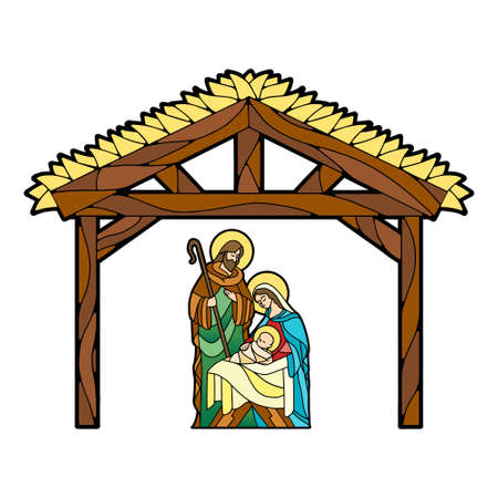 Nativity in stained glass. Christmas season - Vector  イラスト・ベクター素材