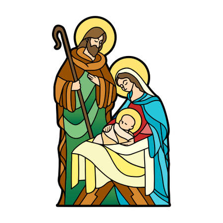 Nativity in stained glass. Christmas season - Vector Illustration
