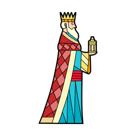 Isolated magic king in stained glass - Vector