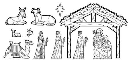 Nativity in stained glass. Christmas season - Vector 矢量图像