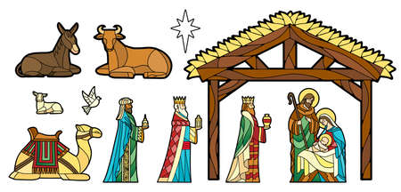 Nativity in stained glass. Christmas season - Vector