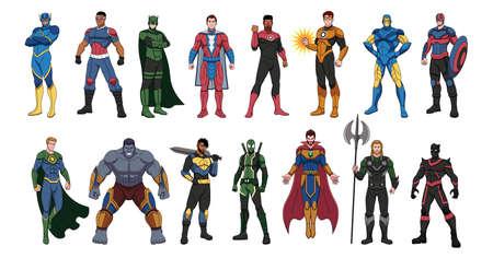 Set of superheroes. Superhero cartoon - Vector illustration