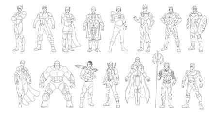 Set of outlines of a superheroes - Vector illustration 矢量图像