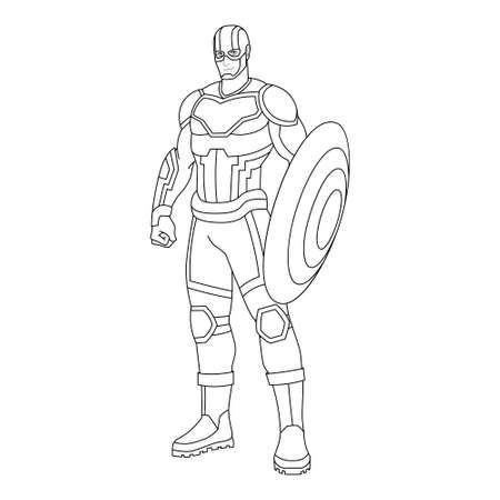 Outline of a superhero cartoon - Vector illustration 矢量图像